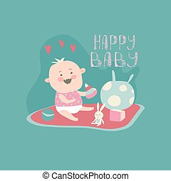 csecsemő, boldog, totyogó kisgyerek, apró