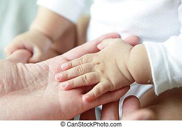 csecsemő, closeup, atya, kéz