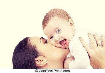 csecsemő, csókolózás, neki, anya