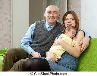 csecsemő, család, három, újszülött