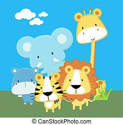 csecsemő, csinos, állatok, szafari