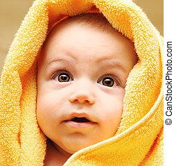 csecsemő, csinos, arc