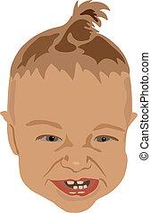 csecsemő, csinos, fej, nevető