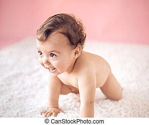 csecsemő, csinos, kevés, portré