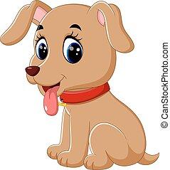 csecsemő, csinos, kutya, karikatúra