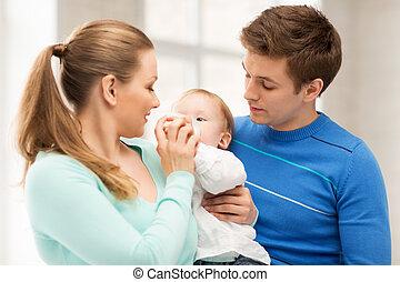 csecsemő, cumisüveg, imádnivaló, család