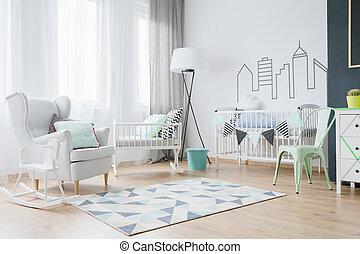 csecsemő, díszít, szoba, gondolat