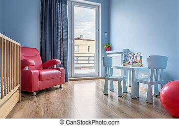 csecsemő, erkély, gondolat, szoba