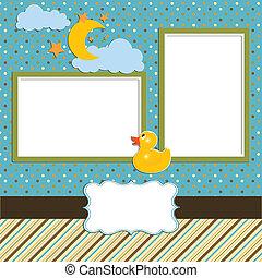 csecsemő, -, fénykép, album-scrapbook, oldal, 1