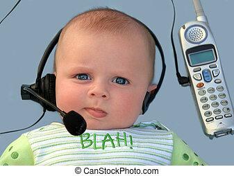csecsemő, fejhallgató