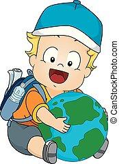 csecsemő fiú, földrajztudós, ábra