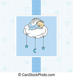 csecsemő fiú, felhő, alvás