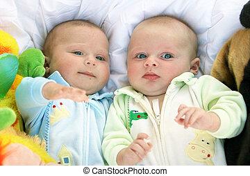 csecsemő fiú, ikergyermek, két, fivérek