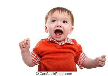 csecsemő fiú, izgatott, fiatal