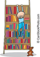 csecsemő fiú, könyvszekrény, mászó