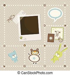 csecsemő fiú, keret, kártya, fénykép