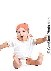 csecsemő fiú, mérges, sikoly, furcsa