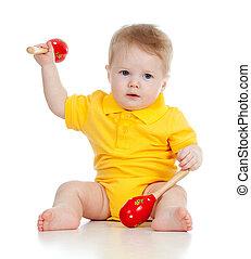 csecsemő fiú, noha, zenés, toys., elszigetelt, white, háttér