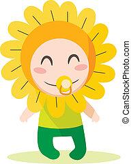 csecsemő fiú, virág