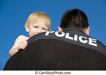 csecsemő, fog, rendőrség tiszt