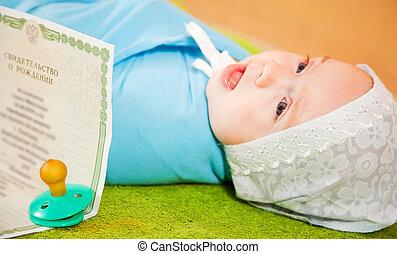 csecsemő, igazolás, közül, születés