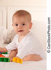 csecsemő, játék, ágy
