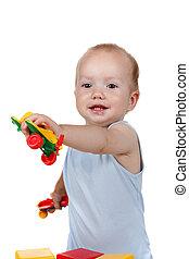 csecsemő, játék, apró repülőgép, alatt, blue ruha, mosolygós