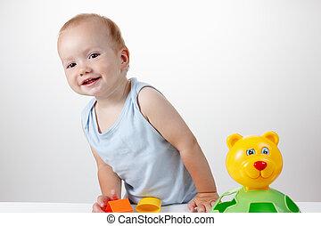 csecsemő, játék, játékszer, alatt, blue ruha, mosolygós