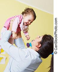 csecsemő, játék, neki, anya