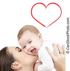 csecsemő, játék, nevető, anya