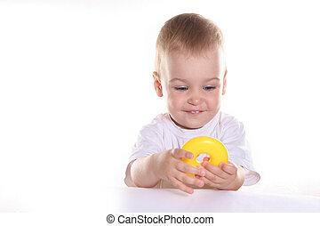 csecsemő, játékszer, karika
