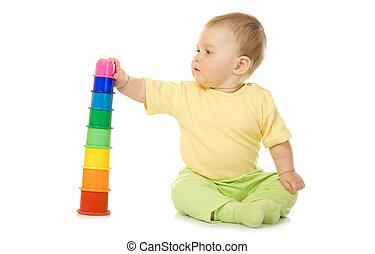csecsemő, játékszer, piramis