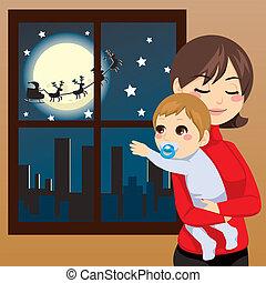 csecsemő, kíván, karácsony