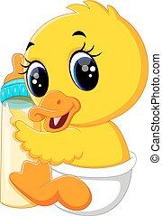 csecsemő, kacsa, karikatúra, csinos