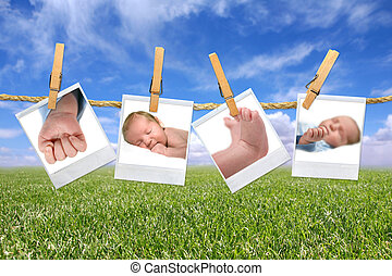 csecsemő, kellemes, kívül, fénykép, függő
