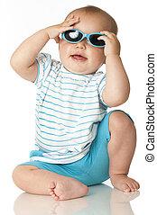 csecsemő, kellemes, napszemüveg