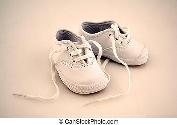 csecsemő, kevés, cipők