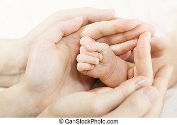 csecsemő kezezés, bele, szülők, hands., család, fogalom