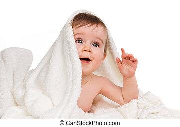 csecsemő, kicsi, betakar, bámulatos, gyermek