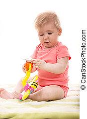 csecsemő lány, birtok, játékszer