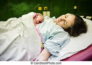 csecsemő lány, kevés, jegyzőkönyv, után, a, születés