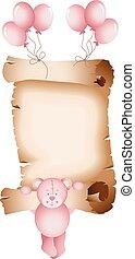 csecsemő lány, mackó, pergament