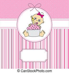 csecsemő lány, noha, egy, torta