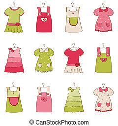 csecsemő lány, ruha, gyűjtés