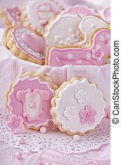 csecsemő lány, süti
