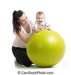 csecsemő, labda, testedzés, állóképesség