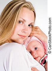 csecsemő, meglehetősen, anyu