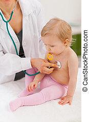 csecsemő, megvizsgál, gyermekgyógyászati, orvos