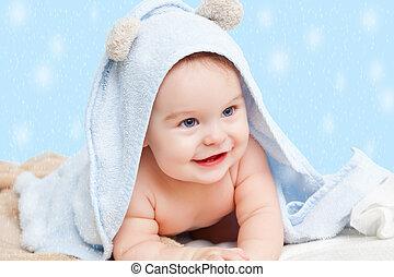 csecsemő, mosolygós