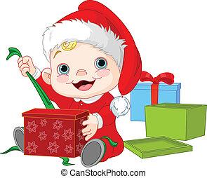 csecsemő, nyílik, karácsonyi ajándék